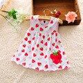 2016 nova cute baby girl dress dot listrado deslizamento dress pêra flor dos miúdos das crianças roupas de algodão 0-18 m dress
