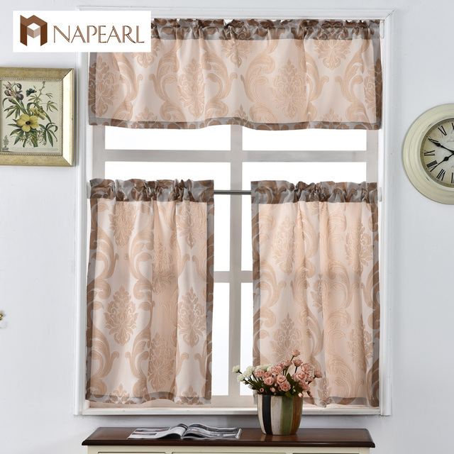 Elegant Short Kitchen Curtains Shade Window Treatments Modern Door Jacquard Thick  Cafe Curtain Panel Ready Made Luxury