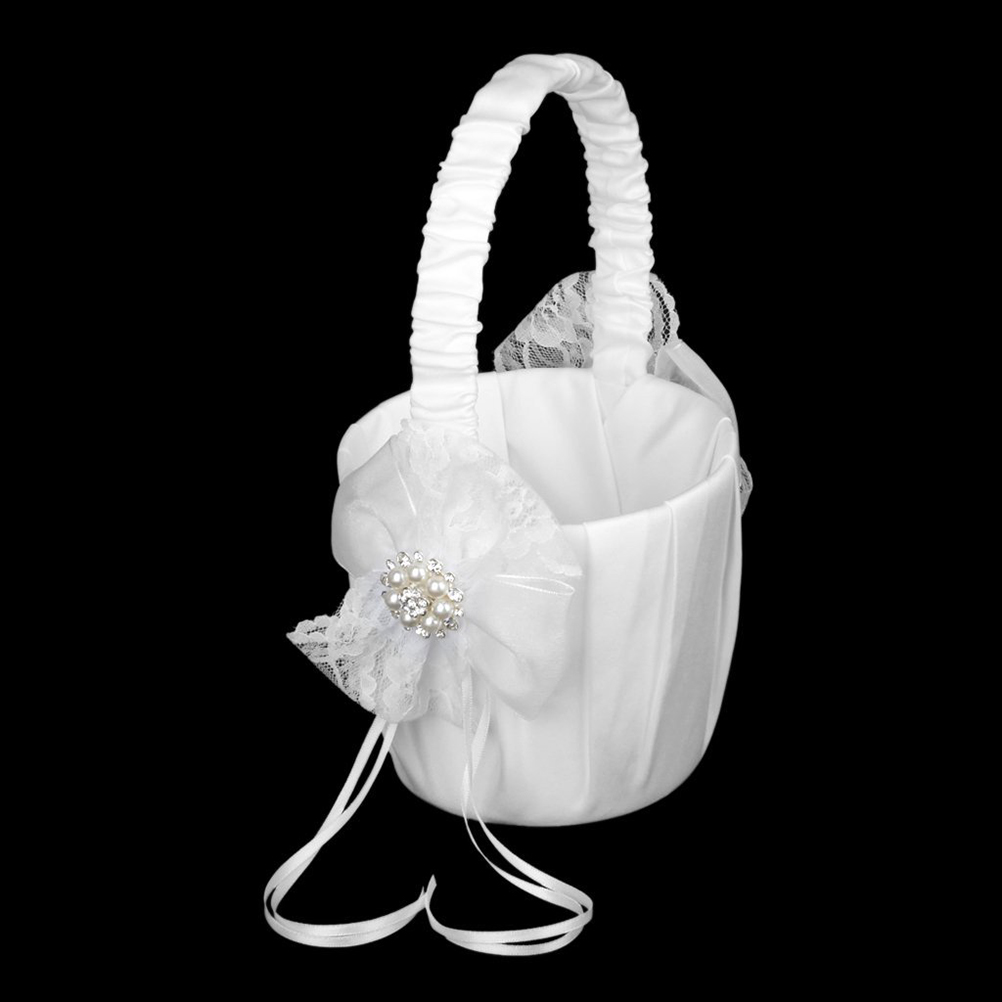 13*22cm Romantic Wedding Flower Girl Basket Chic Satin Bowknot ...