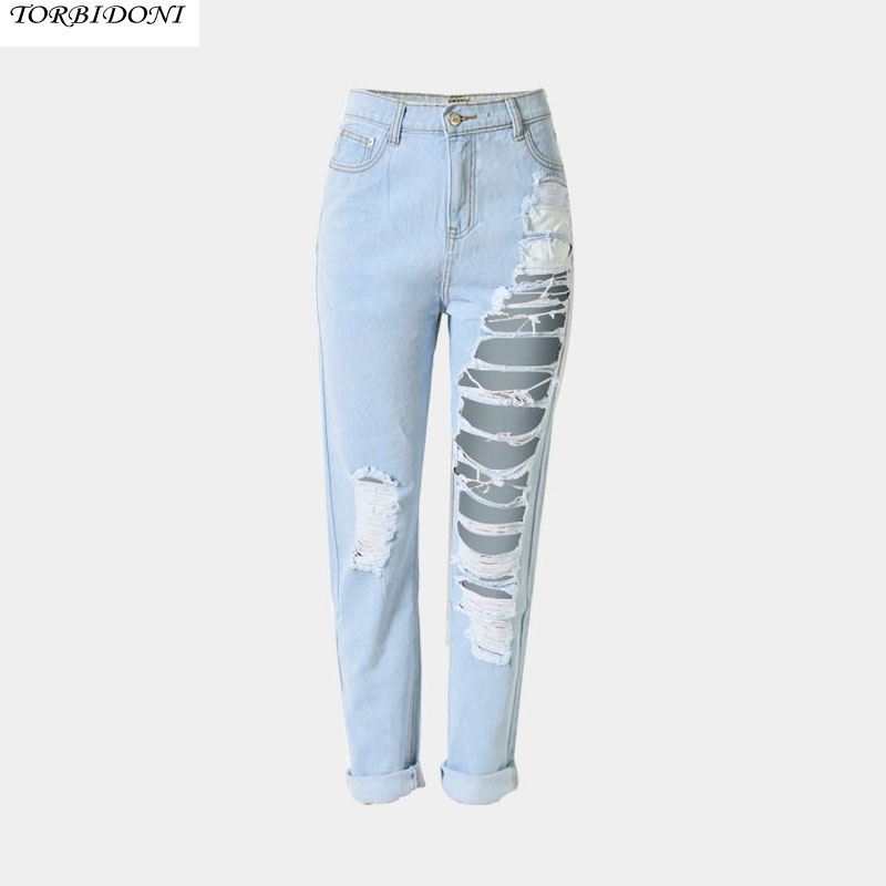 Fashion Hole Denim Jeans Women High Waist Ankle-length Vintage Slim Straight High Quality Ripped Denim Pants Trousers Hot Sale new summer vintage women ripped hole jeans high waist floral embroidery loose fashion ankle length women denim jeans harem pants