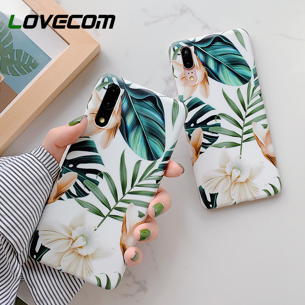 LOVECOM Retro Flower Leaf Phone Case With Ring For Huawei P20 P30 P40 Lite P20 P30 Pro Mate 20 30 Lite Case Soft IMD Phone Cover(China)
