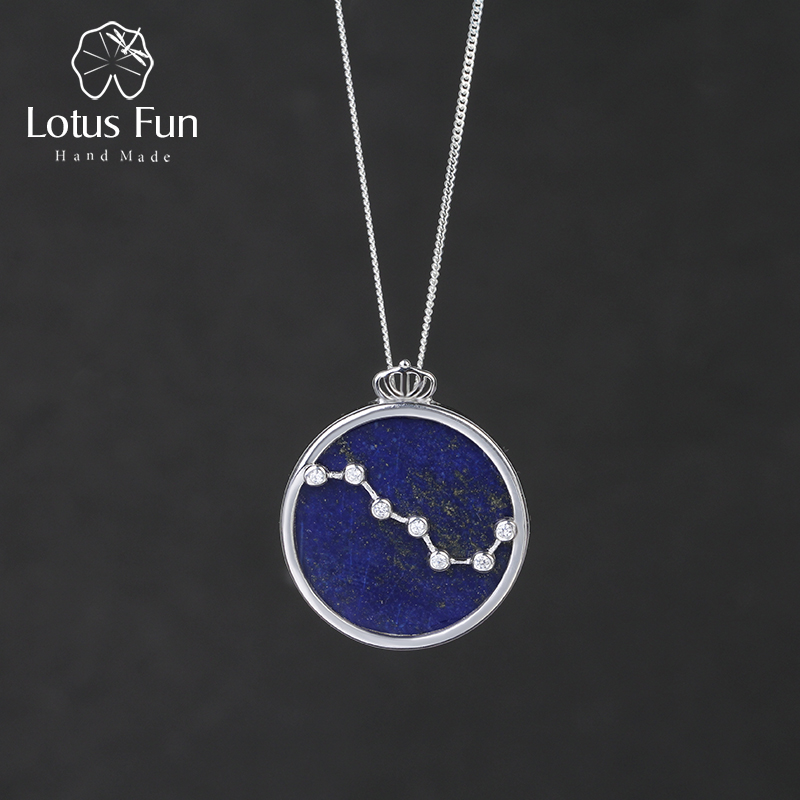Lotus Fun Real 925 Sterling Silver Natural Blue Lapis Handmade Fine Jewelry Queen of Night The Big Dipper Pendant without Chain элемент салона big dipper