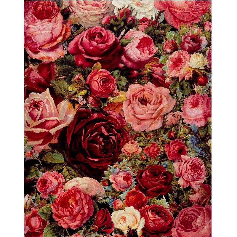Rahmenlose Rahmen Rose Blumen DIY Malen Nach Zahlen Mordern Wandkunst Handgemalte Ölgemälde Für Hauptdekor Kunstwerk 40x50 cm