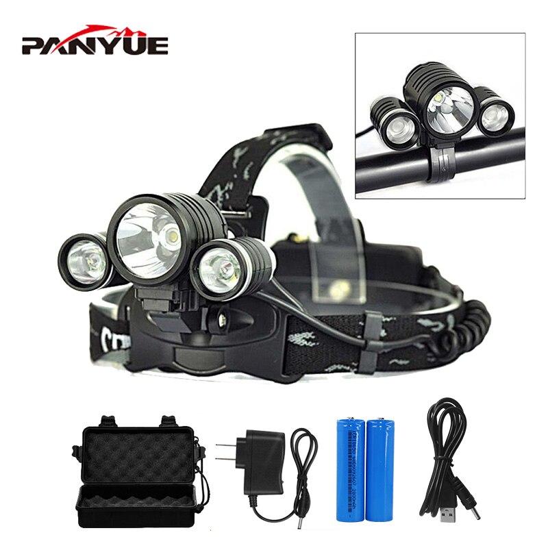 PANYUE High Power 3000 Lumen T6 2R2 4 modes Headlight Flashlight Frontal Headlamp Bike Headlight with Bike light Holder in Headlamps from Lights Lighting