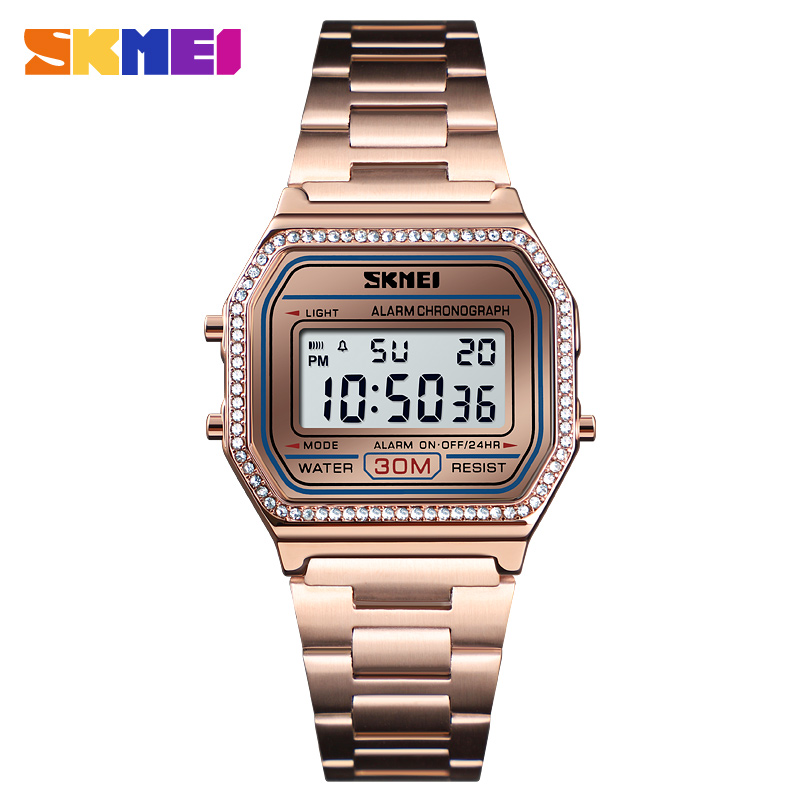 SKMEI New Luxury Women Watch Fashion Casual Sport Digital Stainless Steel Waterproof Week Display Wristwatch Relogio Feminino
