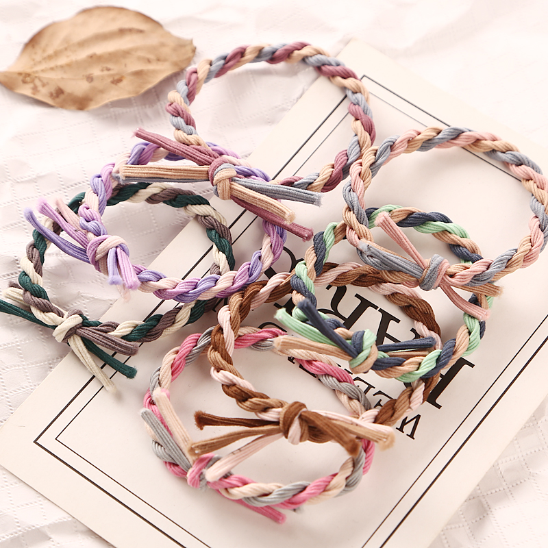 New Handmade Woven Colorful Elastic Hair Band Rope Ponytail Holders Hair Accessories Girl Women Rubber Band Tie Gum Headwear