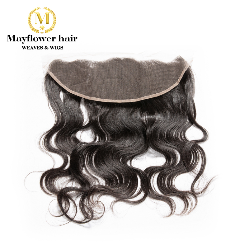 Mayflower Raw Indian wavy Virgin hair Lace frontal 13x4 ear to ear Full hand tied with baby hair Free parting Natural color