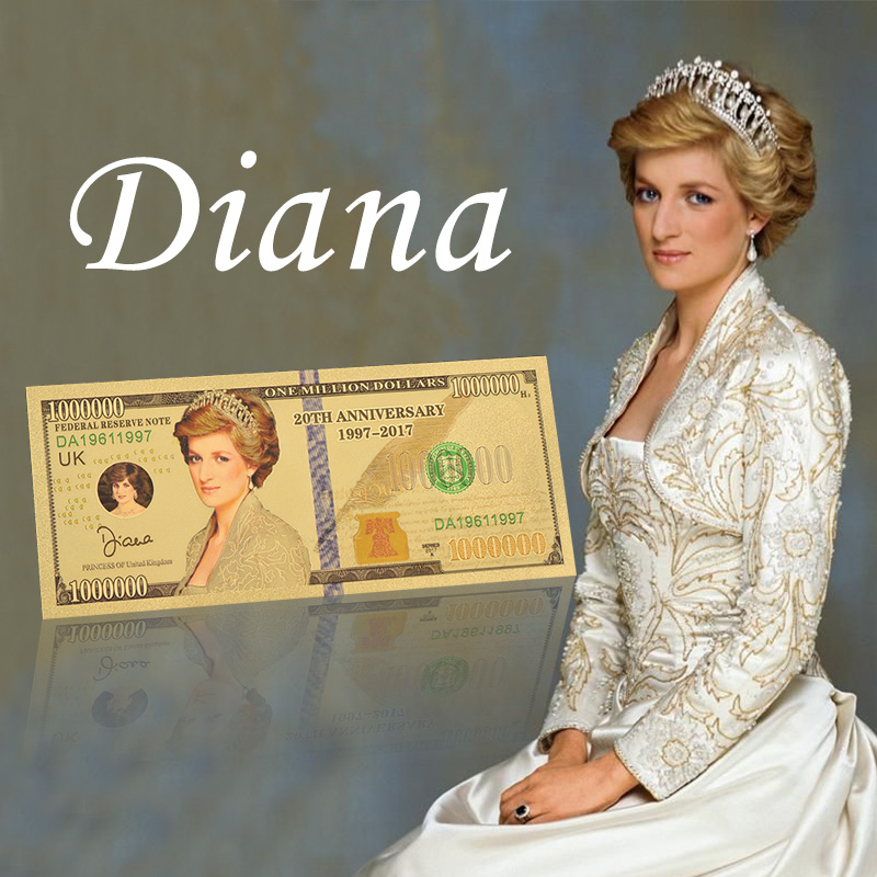 Princess Diane Gold Foil Collectable Banknote With Holder Note