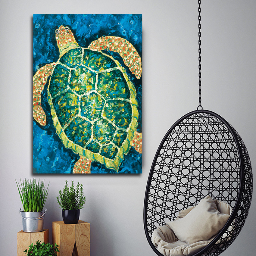 Hd Animal wall painting watercolor sea turtle painting children 39 s home decorative painting ST243 in Painting amp Calligraphy from Home amp Garden