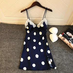Image 1 - Daeyard Womens Silk Nightgown Sexy V Neck Lace Trim Sleepshirt Polka Dot Summer Dress Sleeveless Home Dress Sleepwear Homewear