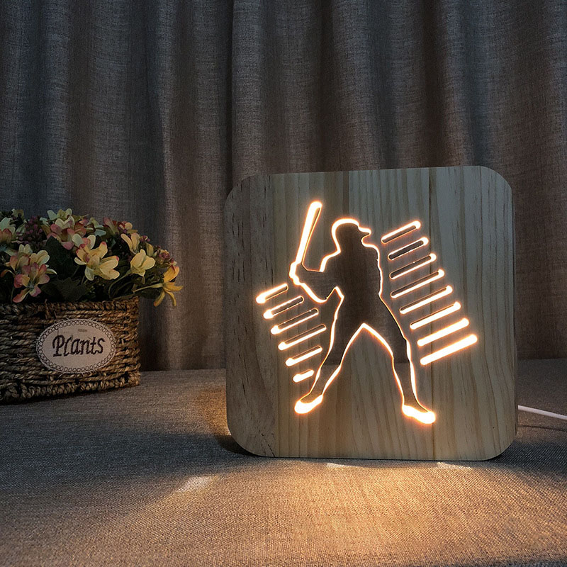 2018 New Wood 3D Light Baseball Warm Night Light