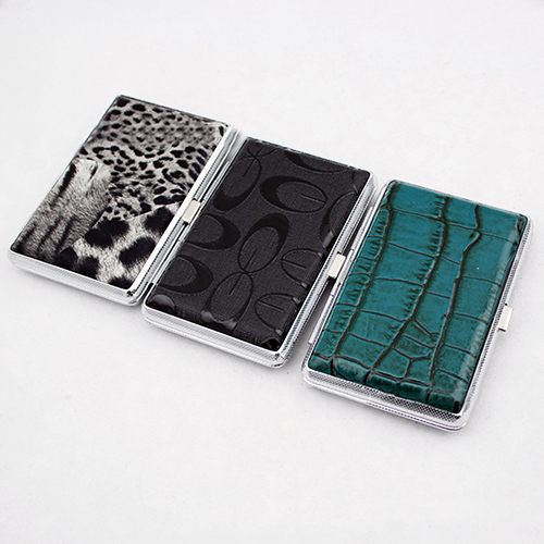 Metal Faux Leather Top Hold A Pack 14Pc Cigarette Hard Box Case Holder