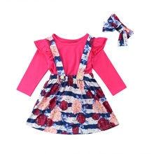 цена на Little Girls Casual Bib Floral Outfits Newborn Baby Girl Shirt Top Strapy Dress Clothes Tutu Headband 3PCs Set Outfits 2019