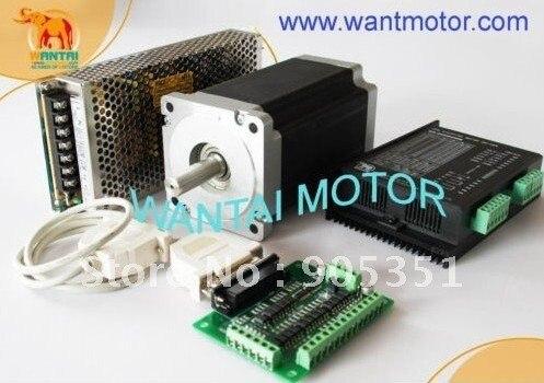 Pas cher CNC! Wantai Nema 34 moteur pas à pas 85BYGH450C-012 1600oz-in + pilote DQ860MA 7.8A 80 V 256 Micro CNC routeur broderie