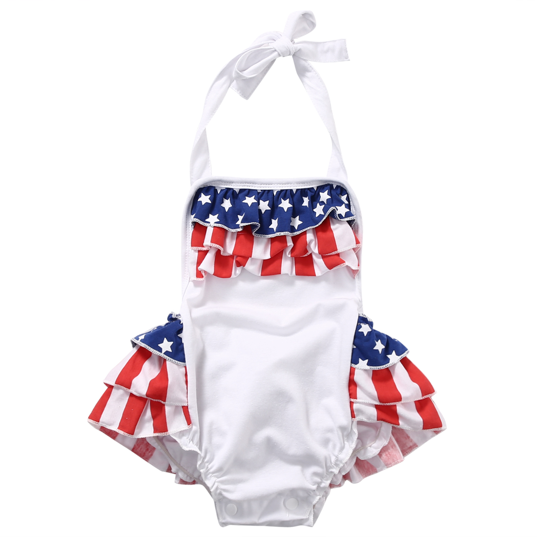 28fb87dcbb8f Summer American Flag Ruffles baby girls clothes Blackless Romper ...