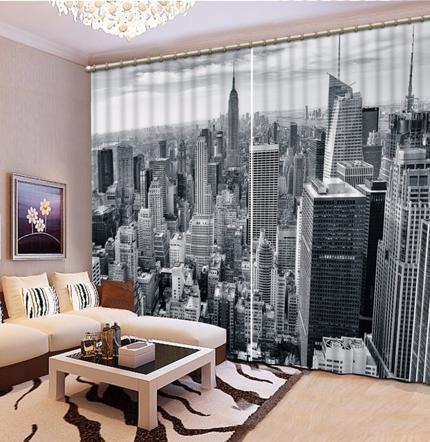 US $76.5 49% OFF|Black and white Curtain building Modern Sheer Curtain For  The Living Room bedroom 3D Photo Curtain Drapes-in Curtains from Home & ...