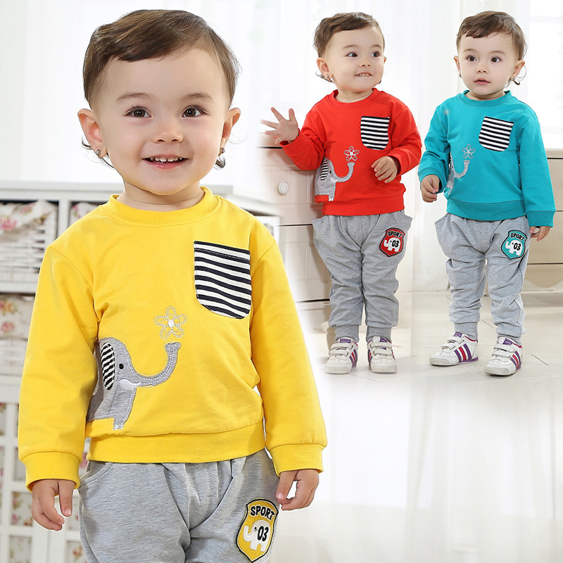 Anlencool Free shipping The new Spring baby boy clothes Valley cute little infant elephant suit clothing baby boy clothing set