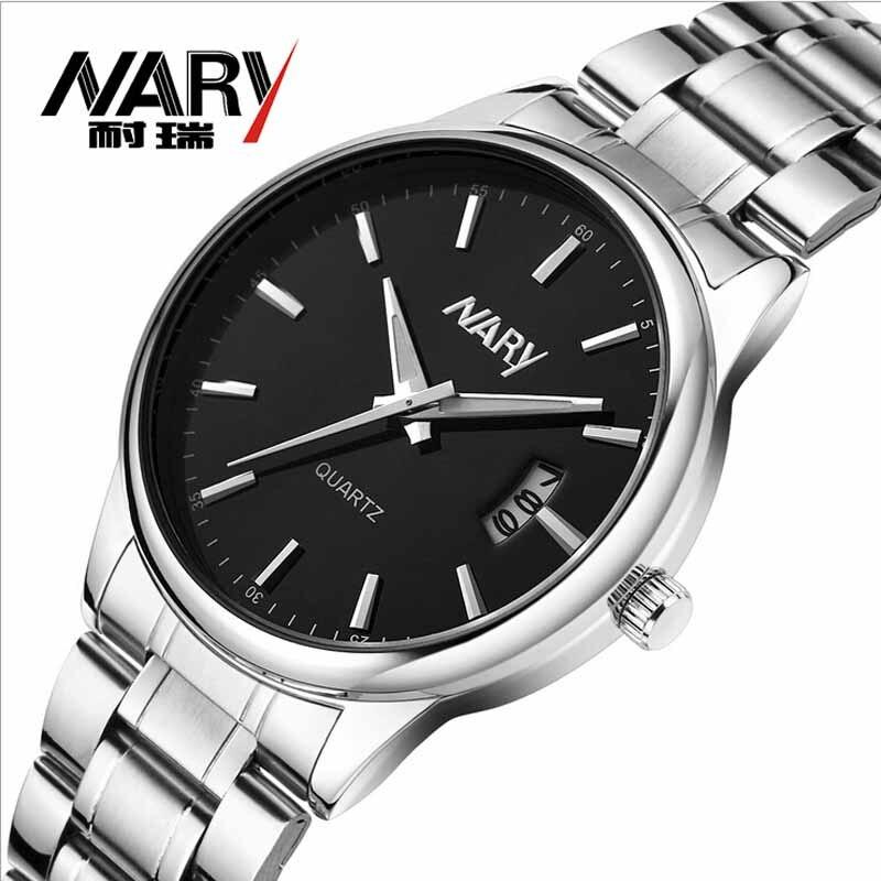 Топ люксовый бренд Nary часы мужские часы из нержавеющей стали повседневные наручные часы японский кварцевый механизм 30 м Водонепроницаемые ...
