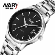 Fashion Brand Nary Brand New Stainless Steel Men Watch High Quality Japanese Quartz Movement Calendar Wristwatch 30M Waterproof