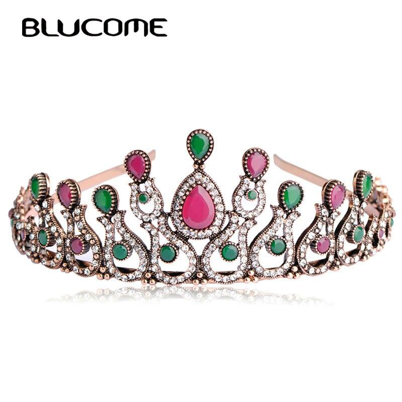 Blucome Vintage Women Bridal Crystal Tiara Crown Head Jewelry Princess Queen Turkish Wedding Hair Accessories Flower Hairwear