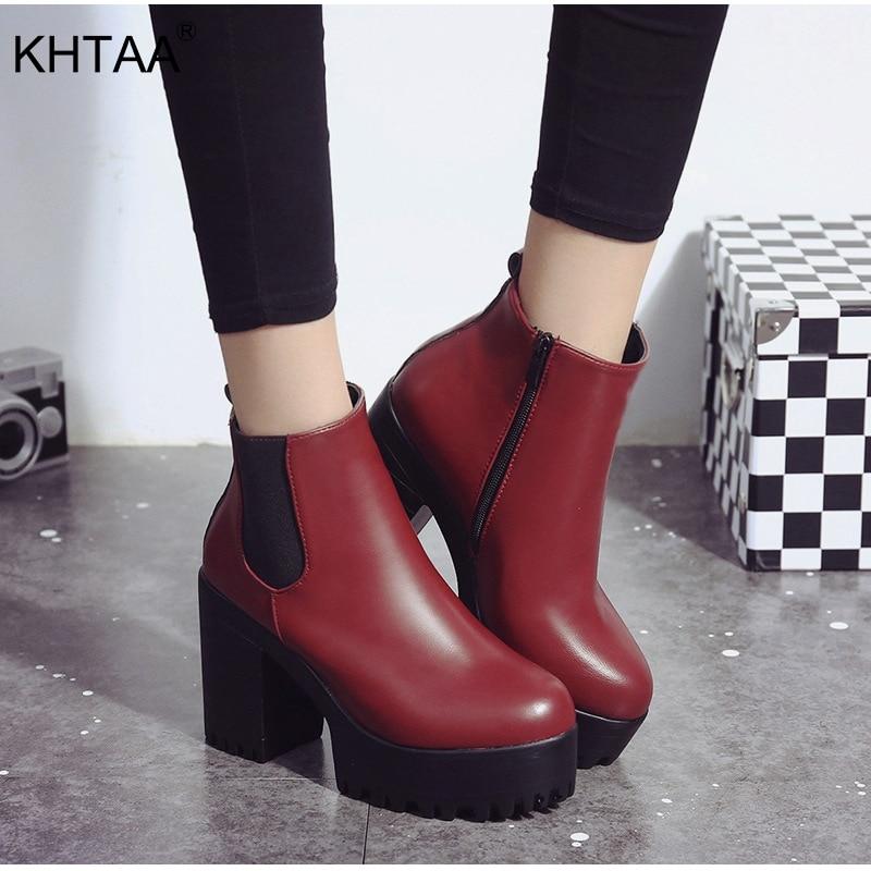 49b96543e Comprar Mulheres Elástico Outono Ankle Boots de Salto Quadrado Sapatos  Femininos Plataforma de Super Saltos Altos de Inverno de Inicialização de  Pelúcia ...