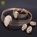 Dubai Oro/Plata Chapado Imitación de La Perla Conjuntos de Joyas Para Las Mujeres Nigeriano Boda Africana Cuentas De Collar Pendientes Pulsera Anillo