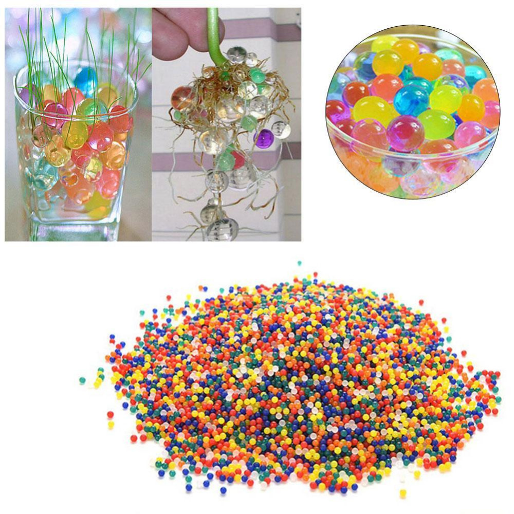 1000PCS Multicolorful Water Ball Pearl Shaped Hydrogel Crystal Soil Water Beads Bio Gel Mud Grow Magic Jelly Ball Toy Refill J75 button