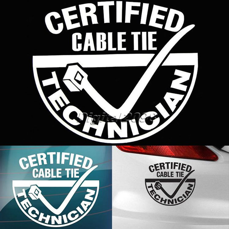 Yetaha CERTIFIED CABLE TIE TECHNICIAN Stickers On Cars Accessories Car-styling Reflective Steering-wheel Decals For Car Sticker