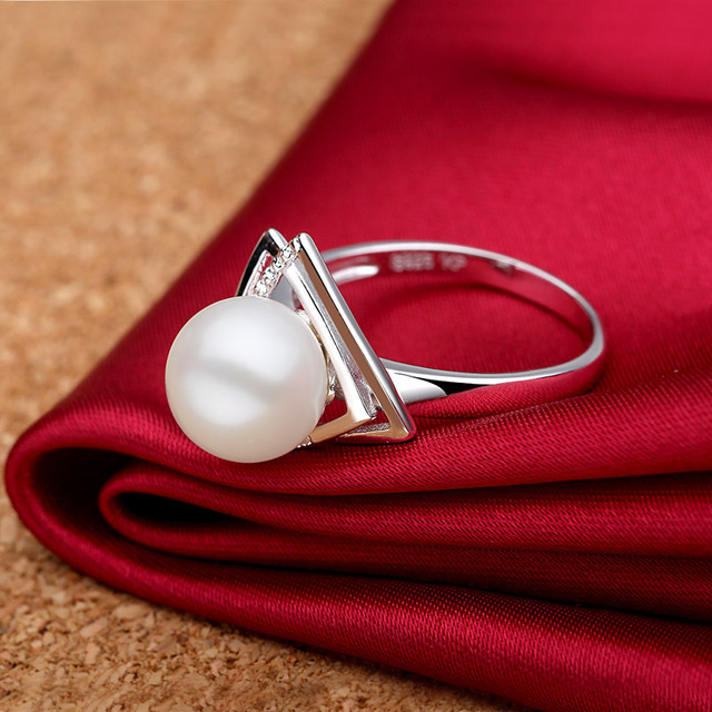 Sinya 925 sterling silver Ring with 9-10mm natural freshwater pearl Fine Jewelry wedding brand Engagement ring for women lover