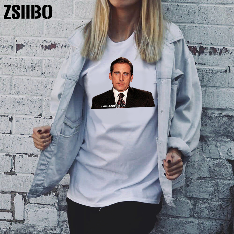 ZSIIBO 2019 The Office Michael Scott I Am Dead Inside Quotes Funny T-Shirt Unisex Tumblr Grunge Fashion White Tee drop shipping image