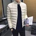 2017 hombres recién llegado chaqueta de invierno patchwork leather jacket casual simplemente chaqueta básica masculina de algodón prendas de vestir exteriores caliente más el tamaño