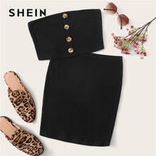 SHEIN Button Front Bandeau Crop Top And Bodycon Skirt Two Piece Set Women Summer Sollid Sleeveless Sexy Matching Sets(China)