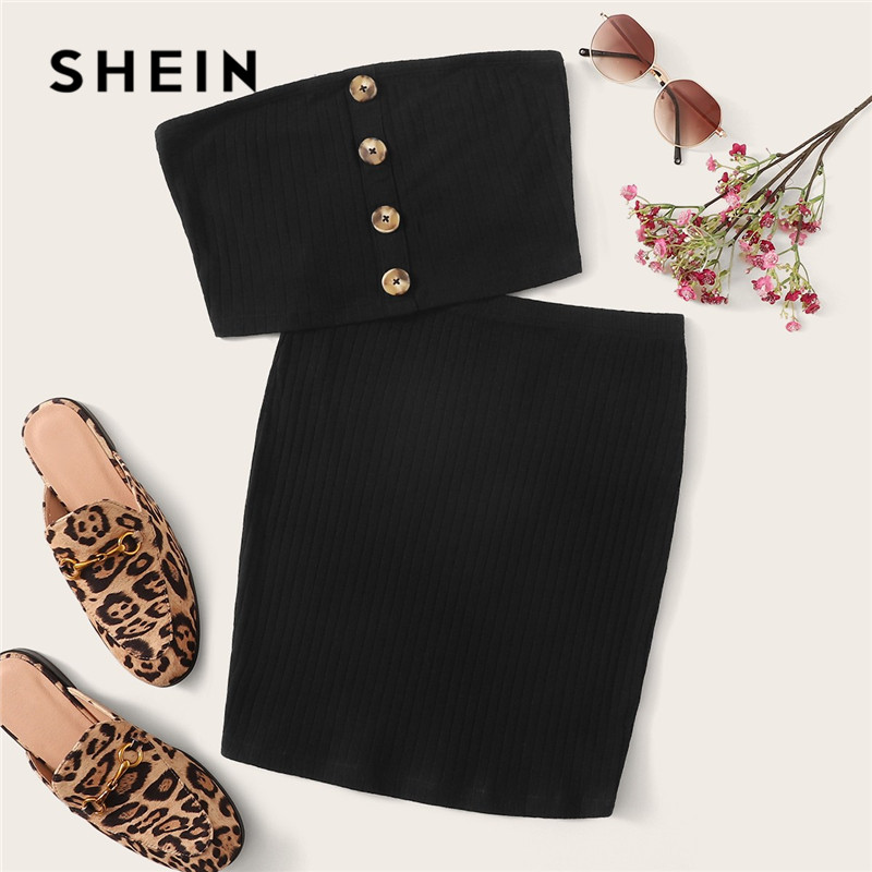 SHEIN Button Front Bandeau Crop Top And Bodycon <font><b>Skirt</b></font> <font><b>Two</b></font> <font><b>Piece</b></font> <font><b>Set</b></font> <font><b>Women</b></font> Summer Sollid Sleeveless Sexy Matching <font><b>Sets</b></font> image