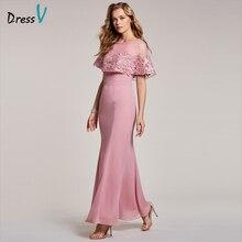 Dressv персик вечернее платье дешевый совок шеи короткий рукав русалка этаж длина свадебное платье формальное платье труба вечернее платье