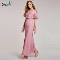 Dressv Peach Evening Dress Cheap Scoop Neck Short Sleeves Mermaid Floor Length Wedding Party Formal Dress