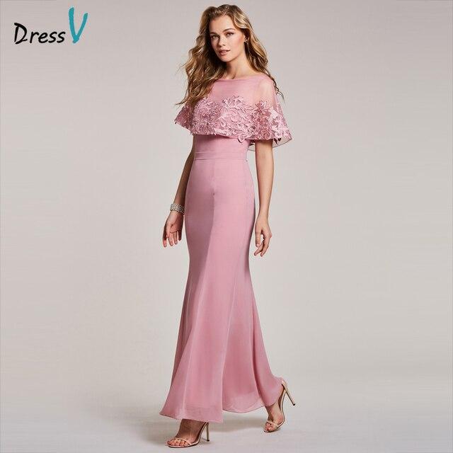 bdd7b778499 Dressv robe de soirée pêche pas cher encolure dégagée manches courtes  sirène étage longueur de mariage