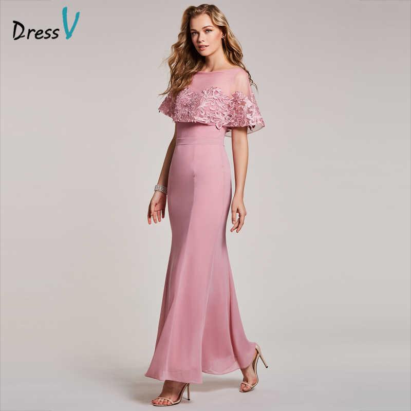 778c7da00ff Dressv персик вечернее платье Дешевые овальным вырезом Короткие рукава  Русалка Длина до пола Свадебная вечеринка торжественное