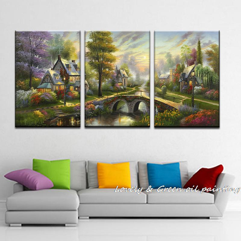 3 Piece Giclee Art Thomas Kinkade Landscape Oil Painting Prints On Canvas Wall Art Picture For