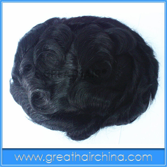 Fine MONO lace FREE SHIPPING 6 inch Indian Realy Hair 25mm Curl 8.5inch x7inch Stock Men Toupee / Men's Wig/ Hair Replacement