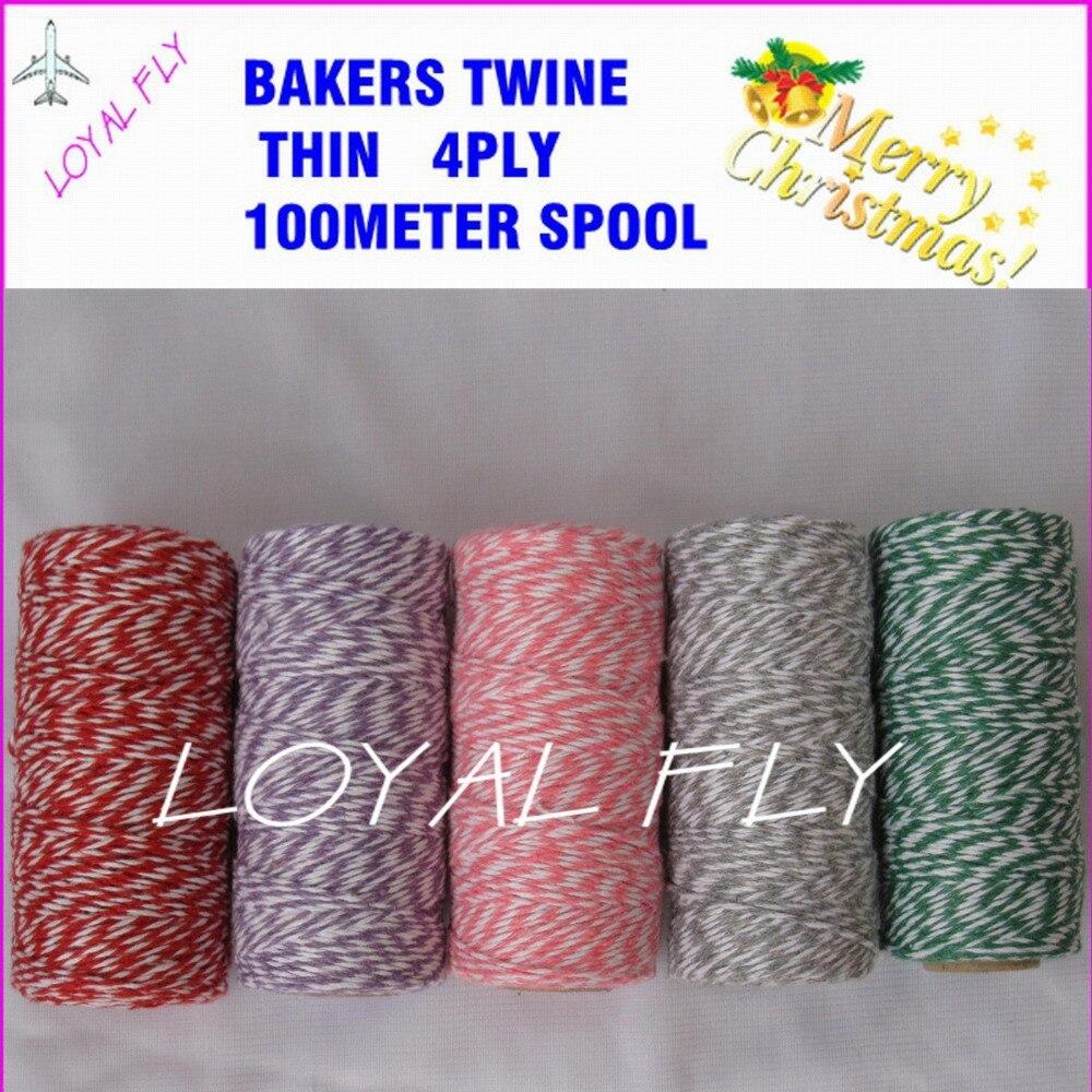 60 stks / partij bakkers touw dunne 4ply 100 m / spool 22 kleur - Feestversiering en feestartikelen - Foto 1