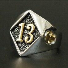 Размер 8-20 Мотоцикл Байкер счастливое число 13 кольцо 316L нержавеющая сталь Мужчины Мальчики Серебряный крутой человек Байкер Череп кольцо