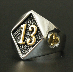 Size 8-20 Motor Biker Lucky Number 13 Ring 316L Stainless Steel Men Boys Silver Cool Man Biker Skull Ring(China)