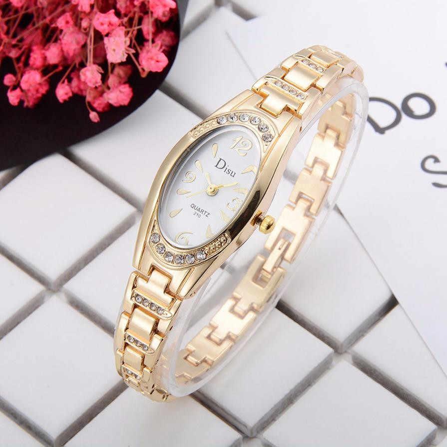 ווג סגלגל קטן חיוג שעונים עבור נשים אלגנטי ריינסטון צמיד יהלומי גבירות שעון שמלת קוורץ שעון יד Relogio # LH