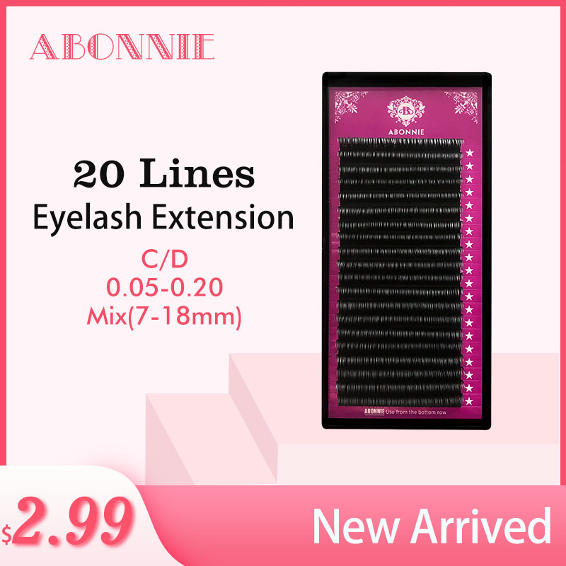 ABONNIE 20rows case 7 18mm mix premium natural synthetic mink individual eyelash extension makeup maquiagem cilios in False Eyelashes from Beauty Health
