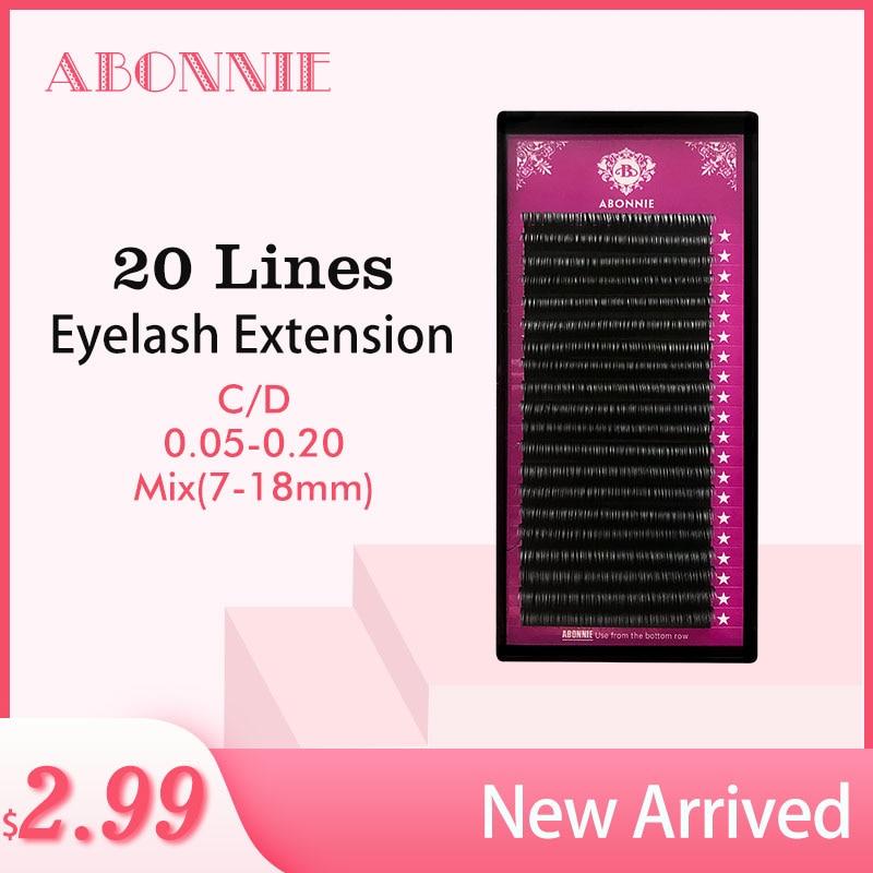 ABONNIE 20rows/case 7~18mm mix premium natural synthetic mink individual eyelash extension makeup maquiagem cilios