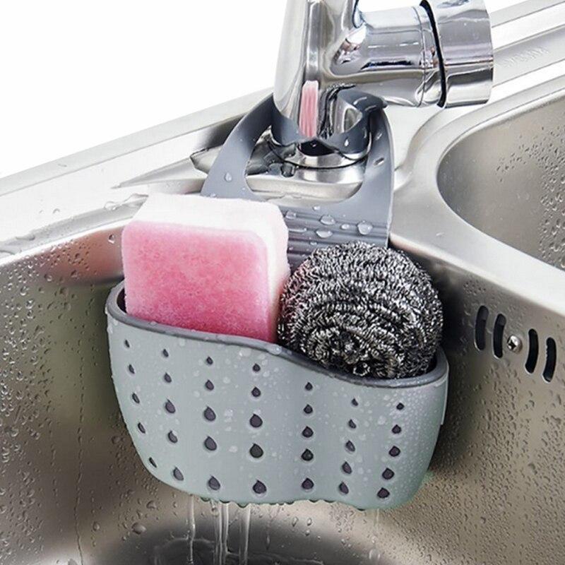 Plasticu0026rubber Sink Racks Kitchen Sink Hanger Drain Rack Kitchen Bathroom  Storage Basket Blue/beige/