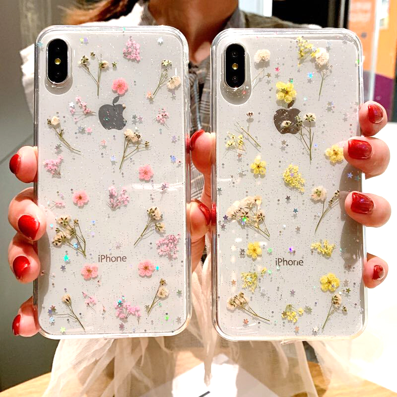 Real Dried Flower Case For iPhone 7 8 Plus XS Max XR XS X 6 6SCase Handmade Clear Soft TPU Fresh Flower Phone Back Cover Fundas (6)