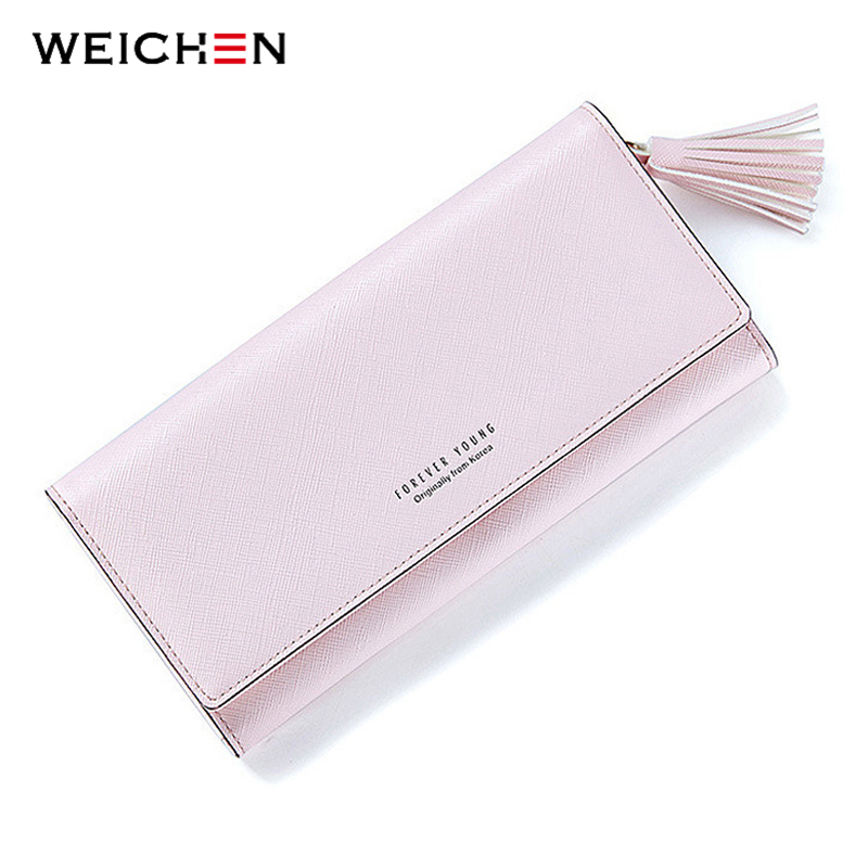WEICHEN Fashion Pink Tassels Wallet For Women Lady Long Clutch Wallets Brand Female Change Purse Hasp Coin Pocket Card Holder high quality floral wallet women long design lady hasp clutch wallet genuine leather female card holder wallets coin purse