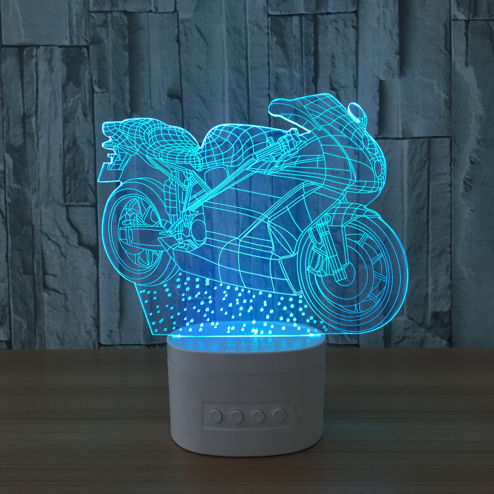 Bluetooth Speaker Motorcycle Led 3D Nightlights Acrylic Colorful USB Desk Table Lamp Paty Holiday Decoration As Christmas Gift mipow btl300 creative led light bluetooth aromatherapy flameless candle voice control lamp holiday party decoration gift