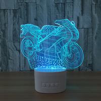 Bluetooth Speaker Motorcycle Led 3D Nightlights Acrylic Colorful USB Desk Table Lamp Paty Holiday Decoration As Christmas Gift